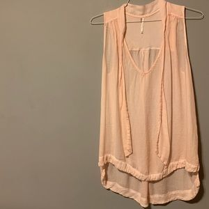 Free People Peach Tie Neck Tank Top